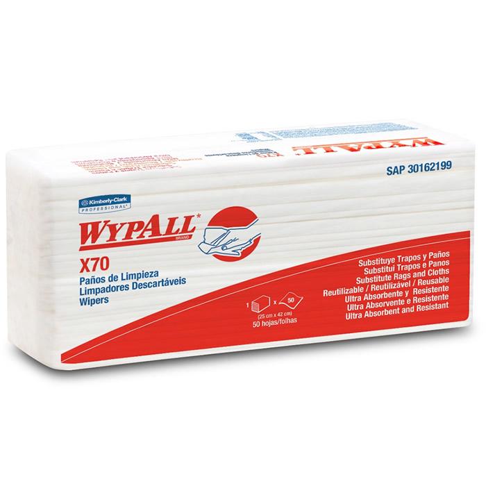 Wiper Wypall X70 Interfolhado (25x42cm) Pacote com 50 panos