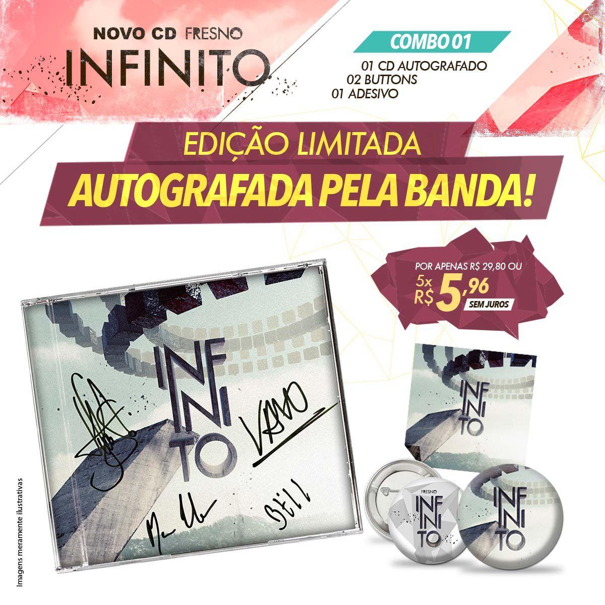 Combo Fresno Infinito - CD Autografado + Button + Adesivo