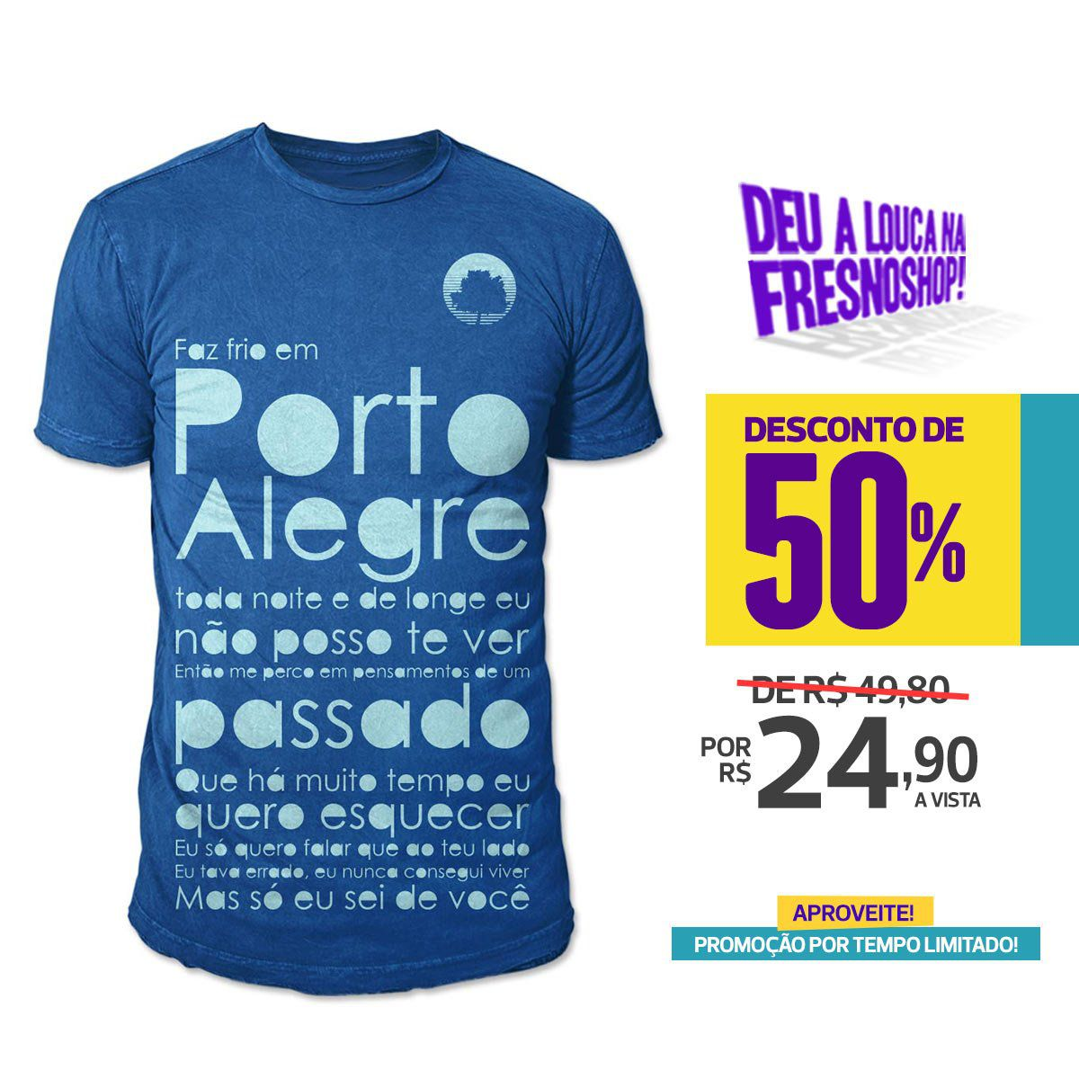SUPER PROMOÇÃO Fresno - Camiseta Masculina Porto Alegre AZUL