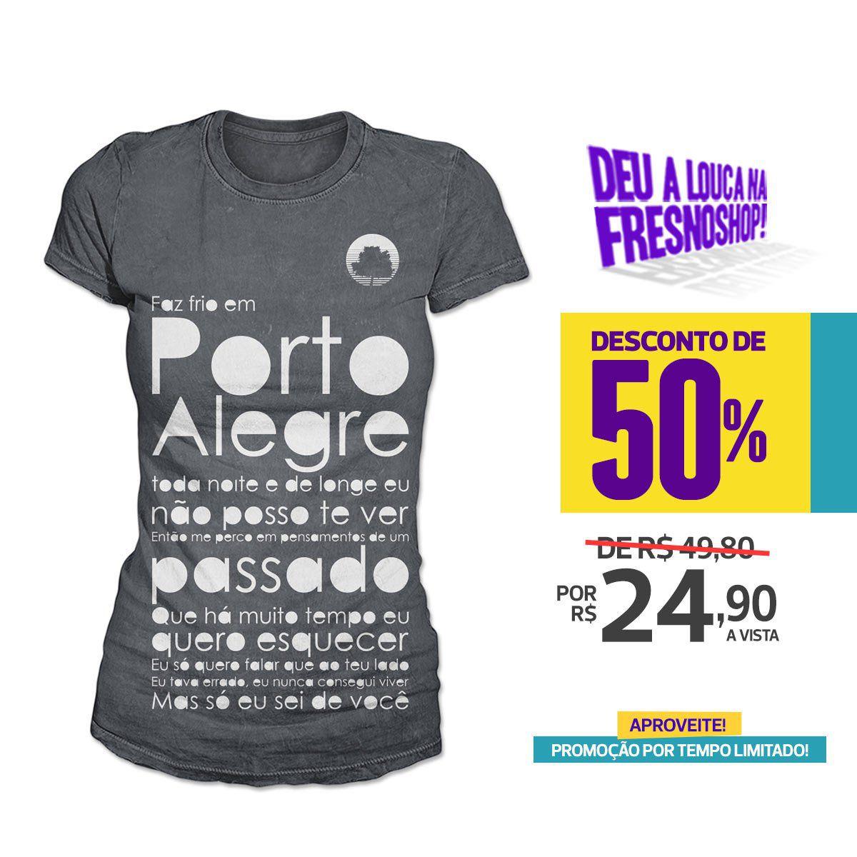 SUPER PROMOÇÃO Fresno - Camiseta Feminina Porto Alegre CHUMBO
