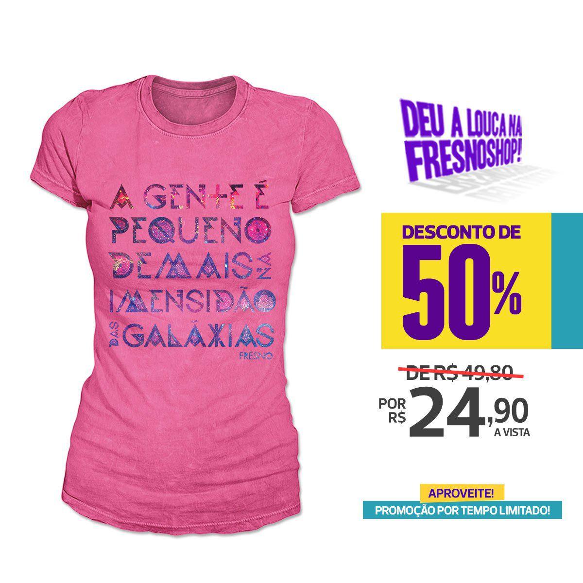 SUPER PROMOÇÃO Fresno - Camiseta Feminina Galáxias ROSA