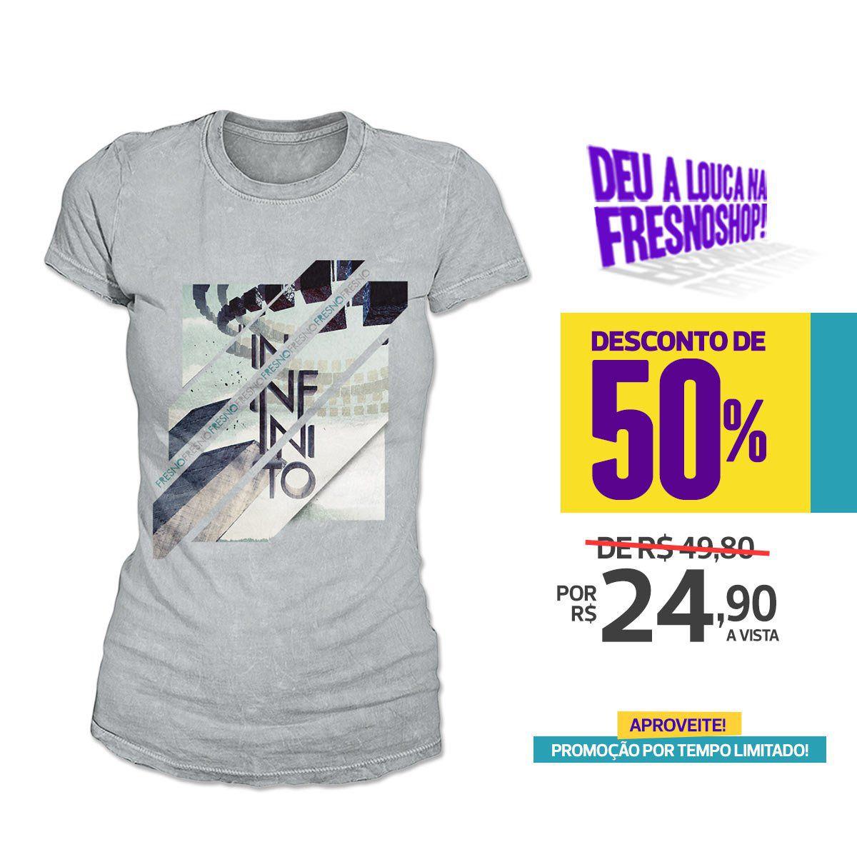 SUPER PROMOÇÃO Fresno - Camiseta Feminina Infinito CINZA