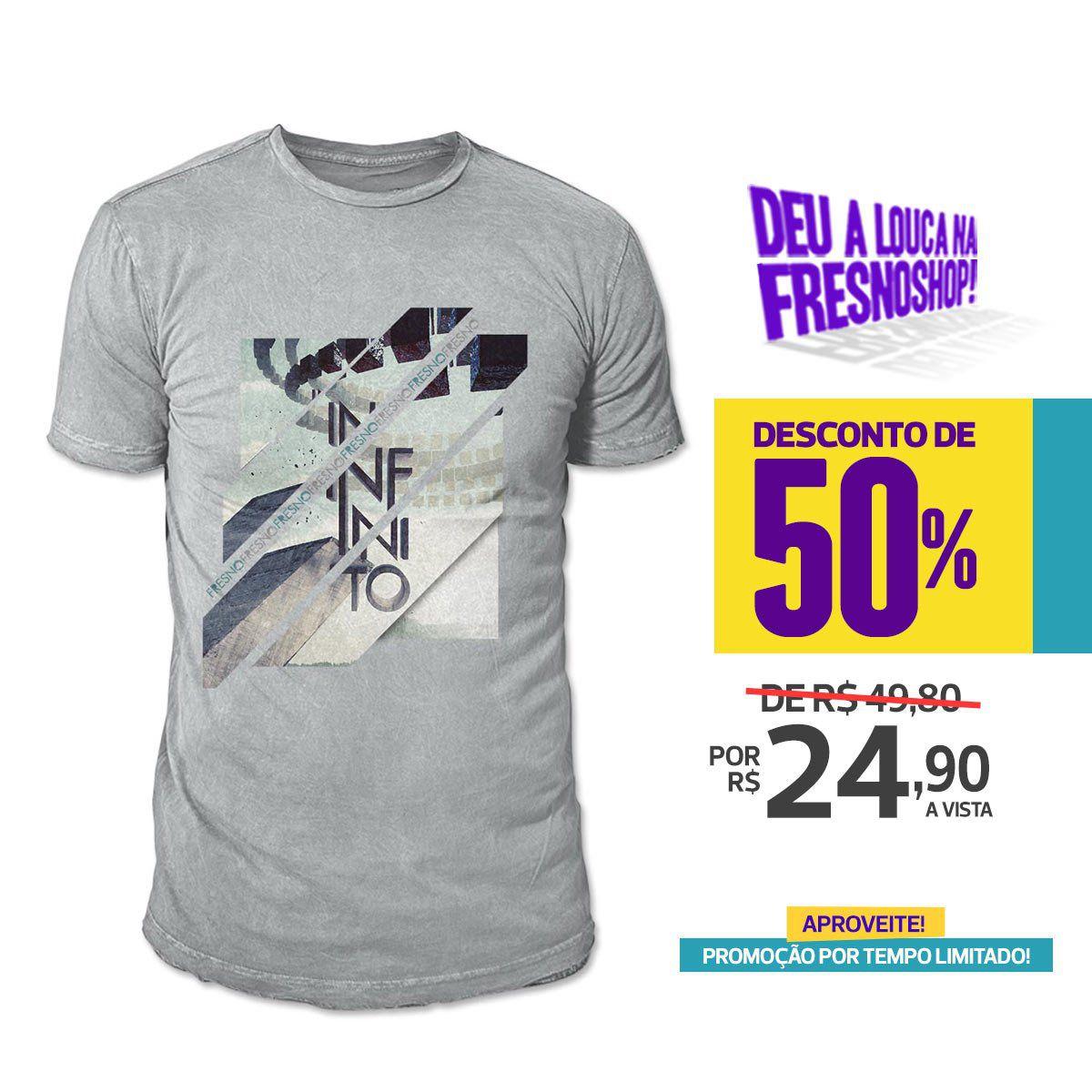 SUPER PROMOÇÃO Fresno - Camiseta Masculina Infinito CINZA