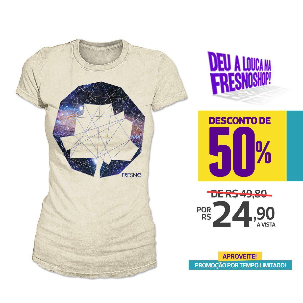 SUPER PROMOÇÃO Fresno - Camiseta Feminina Logo Galáxias BISCUITE