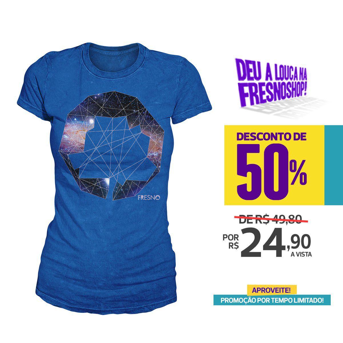 SUPER PROMOÇÃO Fresno - Camiseta Feminina Logo Galáxias AZUL