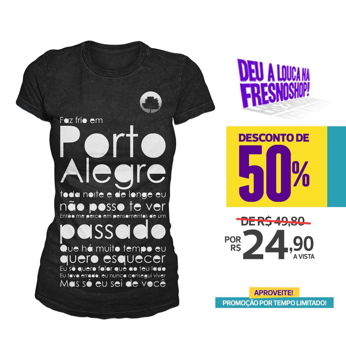SUPER PROMOÇÃO Fresno - Camiseta Feminina Porto Alegre PRETA