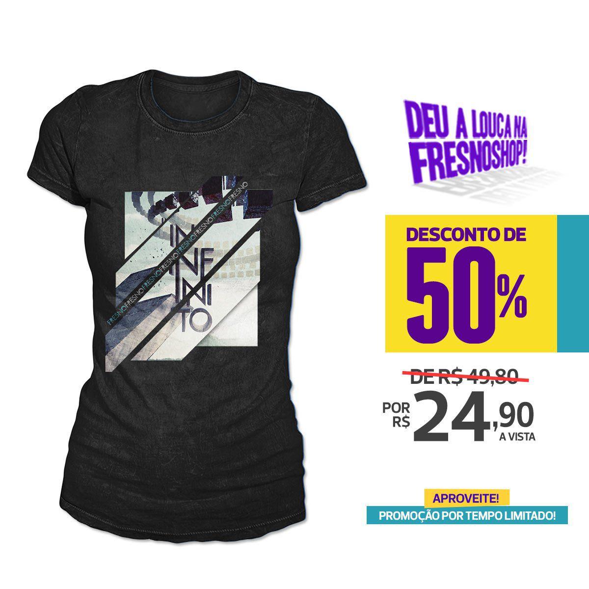 SUPER PROMOÇÃO Fresno - Camiseta Feminina Infinito PRETA