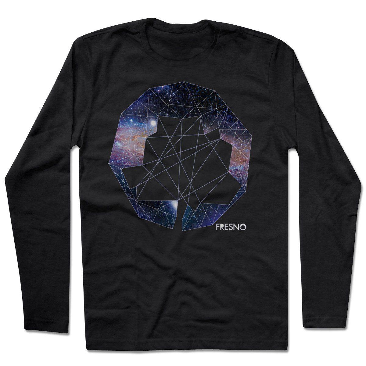 Camiseta Manga Longa Fresno - Logo Galáxias Preta