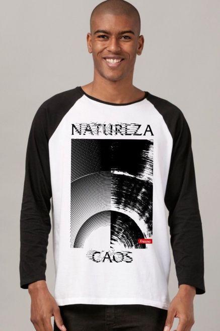 Camiseta Manga Longa Masculina Fresno Natureza Caos Texture