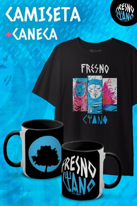 Combo Masculino Fresno Ciano 15 anos - Fases - Camiseta + Caneca