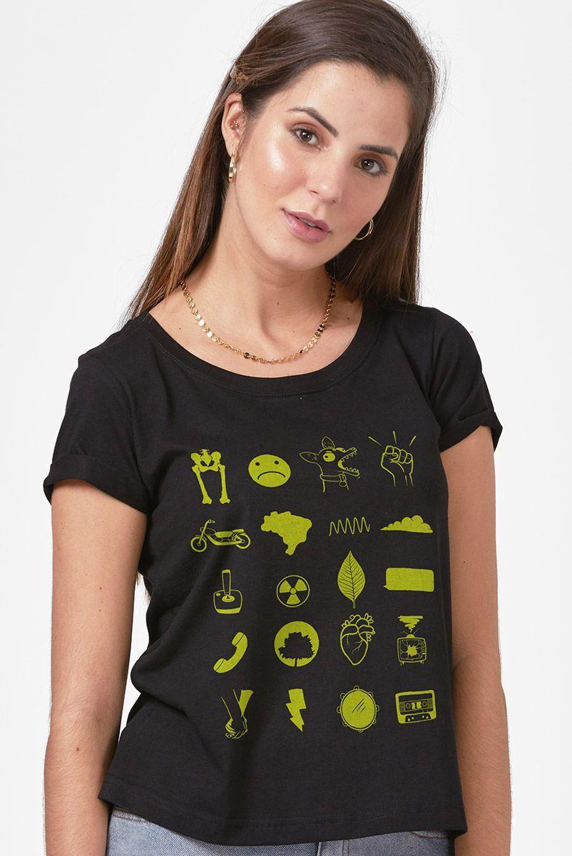 Camiseta Feminina Fresno Sua Alegria foi Cancelada Ícones