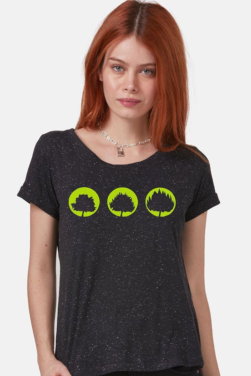 Camiseta Feminina Fresno Sua Alegria Foi Cancelada Logo Árvores