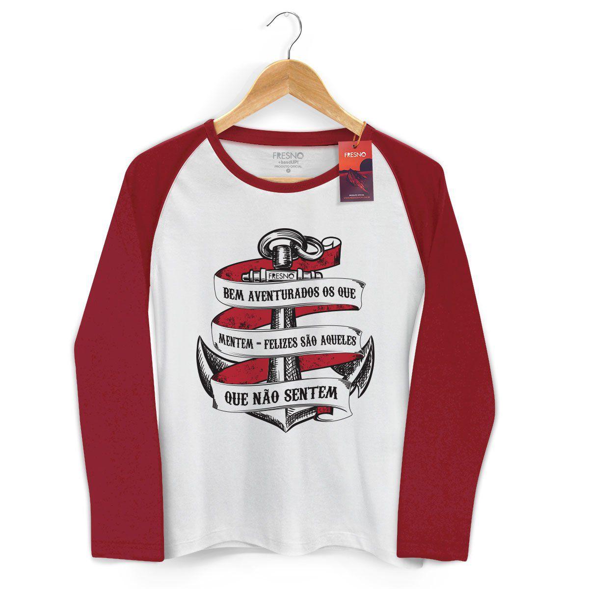 Camiseta Manga Longa Raglan Feminina Fresno Bem Aventurados os Que Mentem
