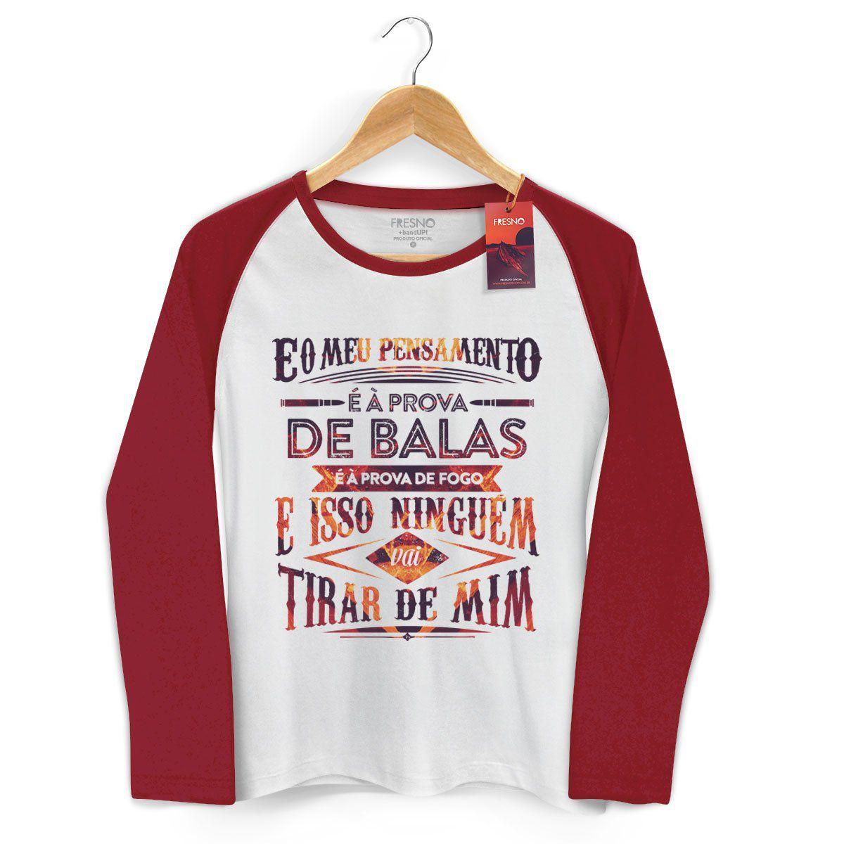Camiseta Manga Longa Raglan Feminina Fresno Pensamento à Prova de Balas Type 2