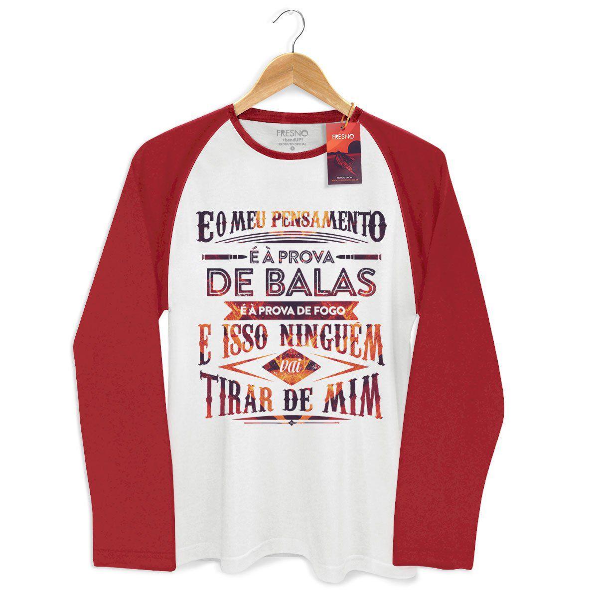 Camiseta Manga Longa Raglan Masculina Fresno Pensamento à Prova de Balas Type 2