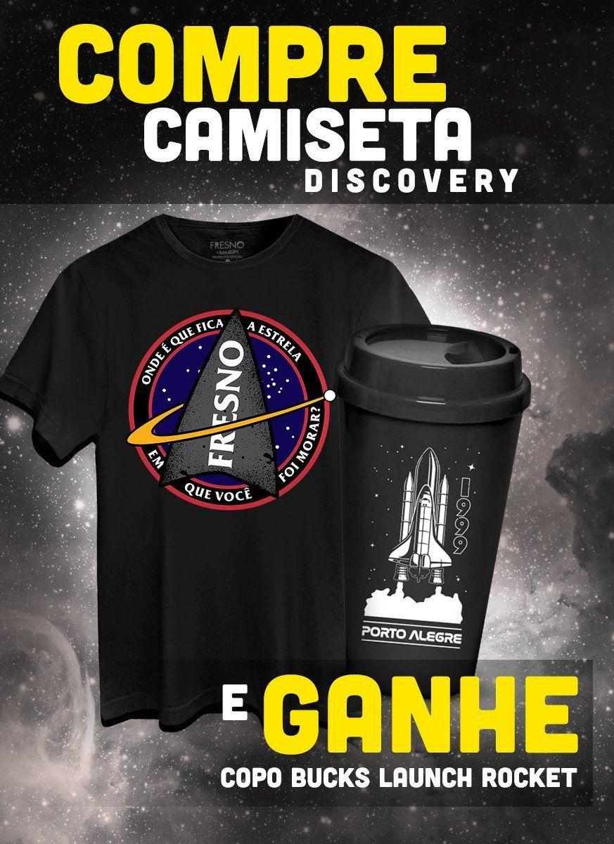 Camiseta Masculina Fresno Discovery + Copo Bucks GRÁTIS