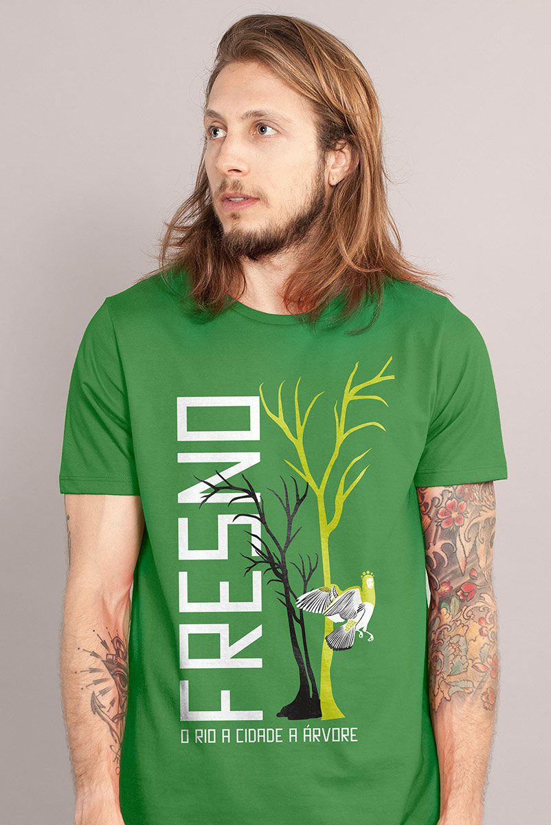 Camiseta Masculina Fresno O Rio A Cidade A Árvore