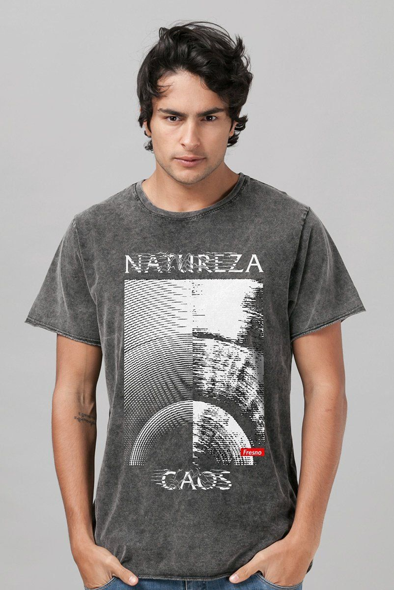 Camiseta Masculina Marmorizada Fresno Natureza Caos Texture
