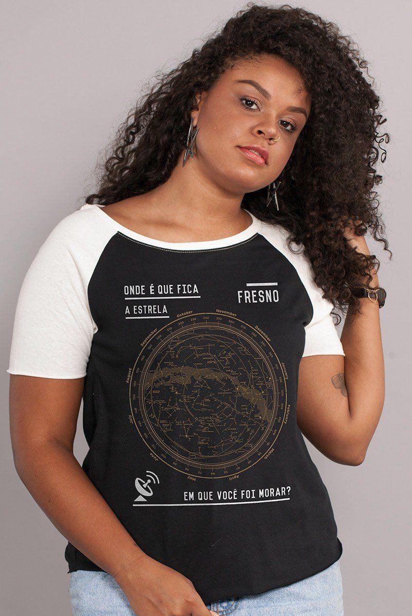 Camiseta Raglan Feminina Fresno Mapa Estelar