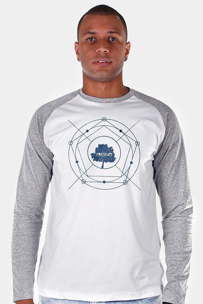 Camiseta Raglan Manga Longa Masculina Fresno Árvore Diagrama