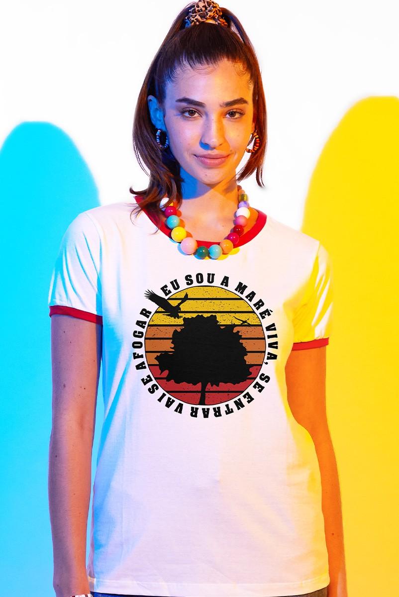 Camiseta Ringer Feminina Fresno Eu Sou A Maré