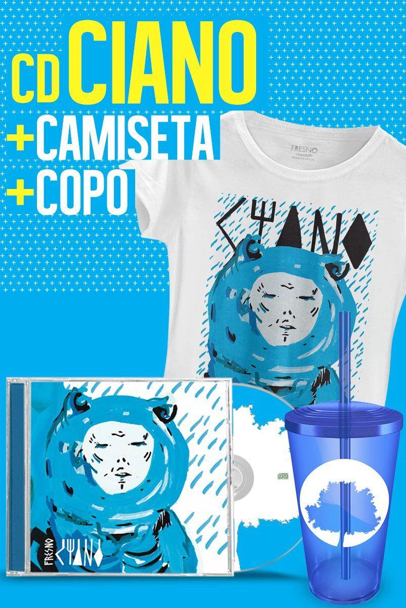 Combo Fresno CD Ciano + Camiseta Feminina + Copo