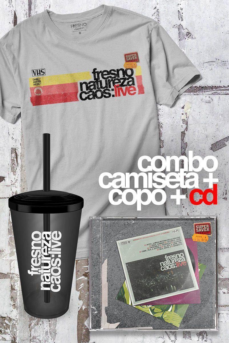 Combo Fresno CD Natureza Caos: Live + Camiseta Masculina + Copo