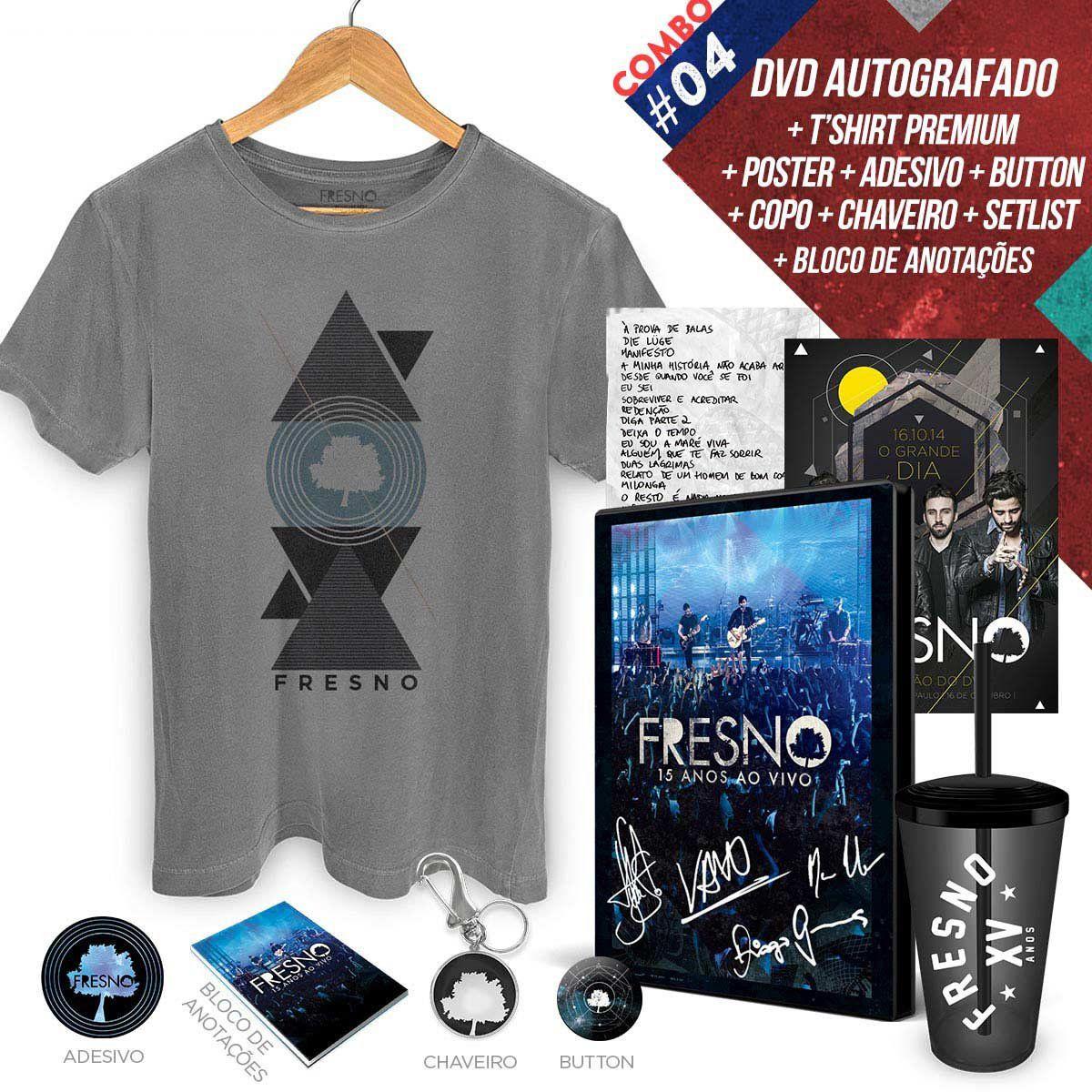 Combo Premium DVD Fresno 15 Anos ao Vivo AUTOGRAFADO + T-Shirt Masculina