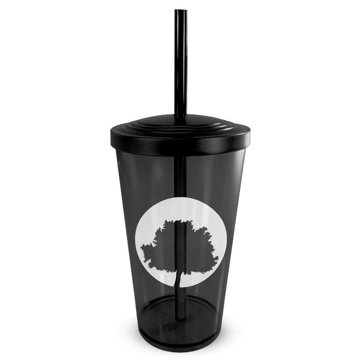 Copo Acrílico Fumê com Canudo Fresno Logo Árvore