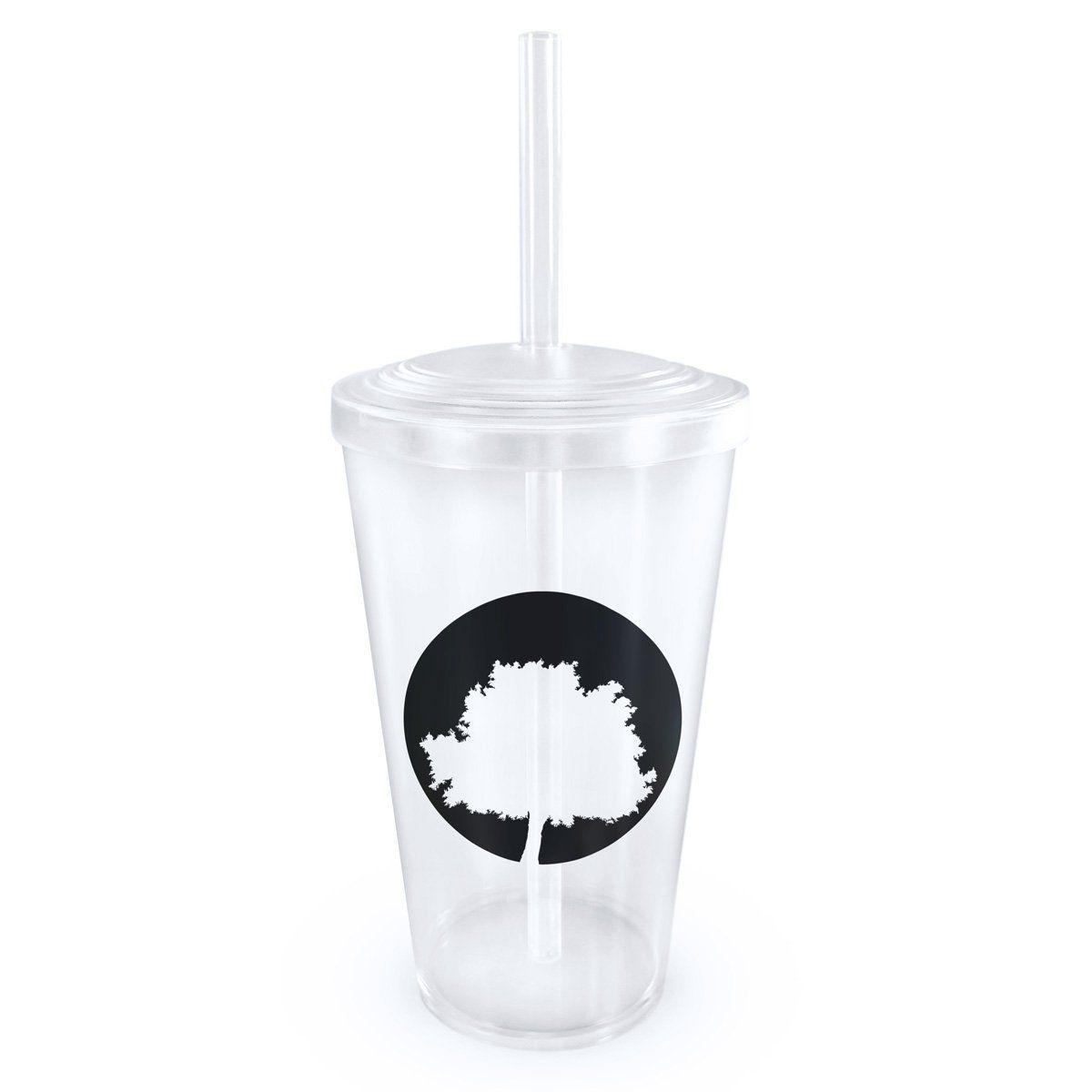 Copo Acrílico Transparente com Canudo Fresno Logo Árvore 2