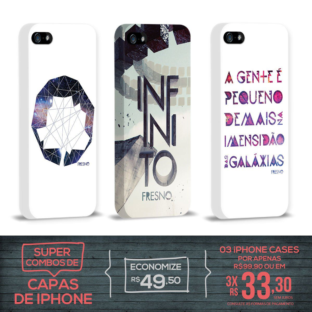 Kit Com 3 Capas de iPhone 5/5S Fresno - Galáxias