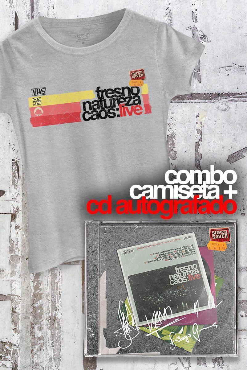 Pré-Venda Combo Fresno CD AUTOGRAFADO Natureza Caos: Live + Camiseta Feminina