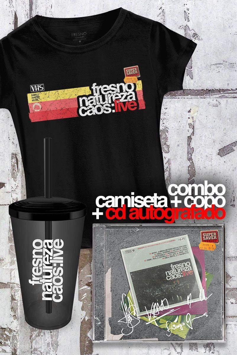 Pré-Venda Combo Fresno CD AUTOGRAFADO Natureza Caos: Live + Camiseta Feminina + Copo