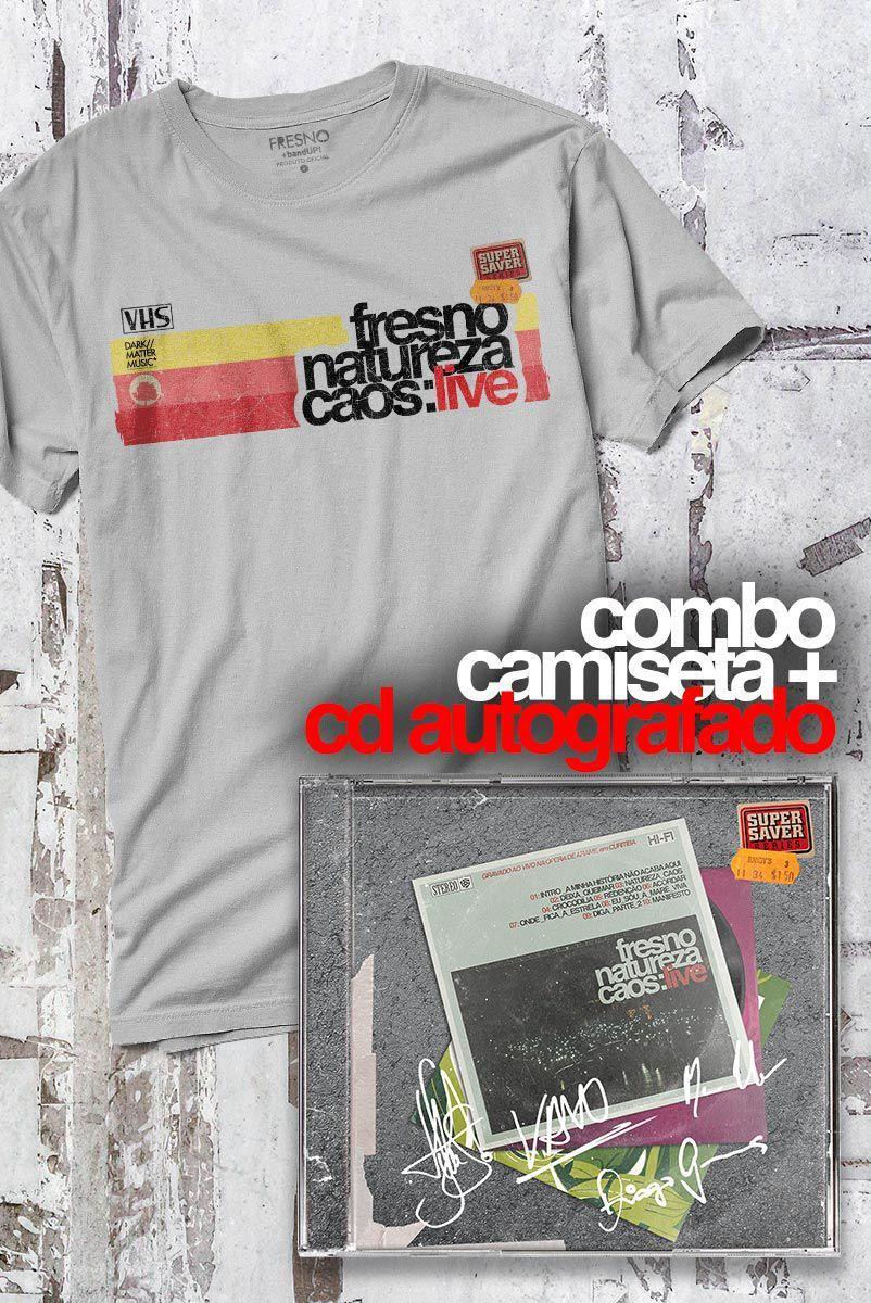 Pré-Venda Combo Fresno CD AUTOGRAFADO Natureza Caos: Live + Camiseta Masculina