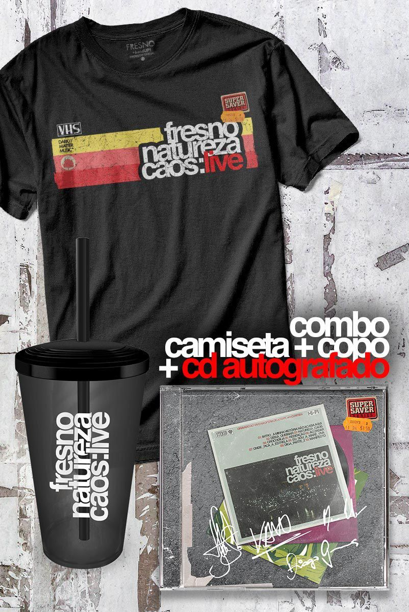 Pré-Venda Combo Fresno CD AUTOGRAFADO Natureza Caos: Live + Camiseta Masculina + Copo