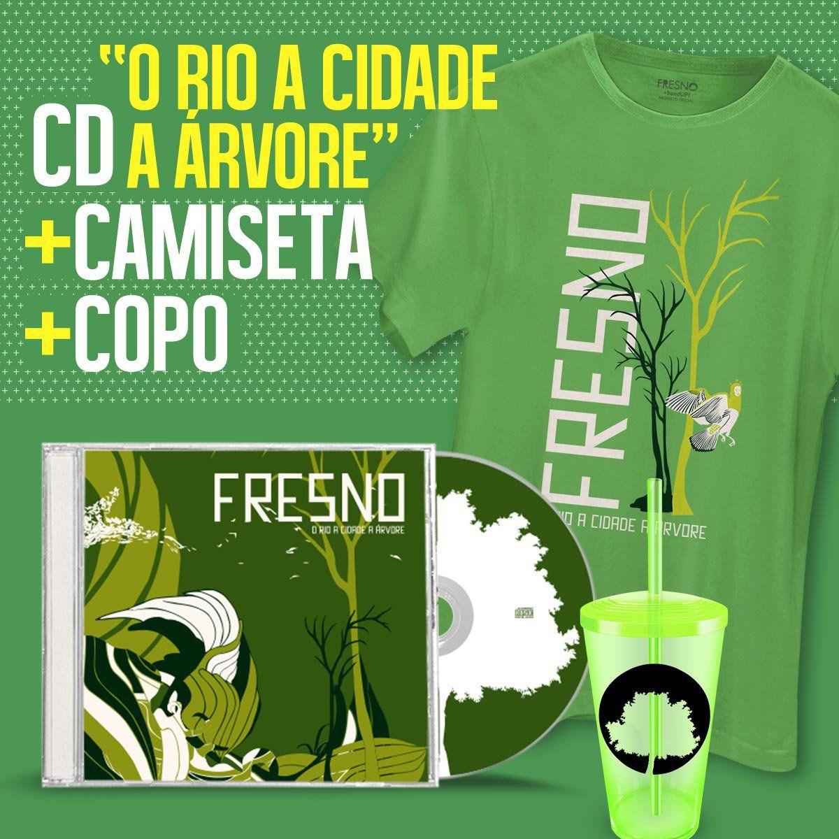 Combo Fresno CD O Rio A Cidade A Árvore + Camiseta Masculina + Copo