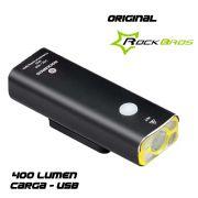 FAROL DIANTEIRO ROCKBROS V9C-400 RECARREGAVEL USB 400 LUMEN ALUMINIO PRETO ATE 8 HORAS