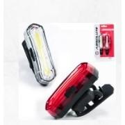 KIT DE FAROL DIANTEIRO E TRASEIRO ABSOLUTE PRETO - CARREGA VIA USB JY-6055F+T - ISP