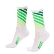 MEIA HUPI CICLISTA COLORFUL COLLECTION BRANCO VERDE STRIPS 495-16
