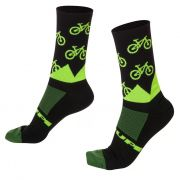 MEIA HUPI CICLISTA COLORFUL COLLECTION PRETA E VERDE MTB 495-64