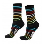 MEIA HUPI CICLISTA COLORFUL COLLECTION PRETO LISTRAS 495-10