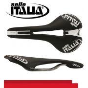 SELIM SELLE ITALIA FLITE TEAM EDITION FLOW CARBONO TRILHO TITANIO PRETO 209G.