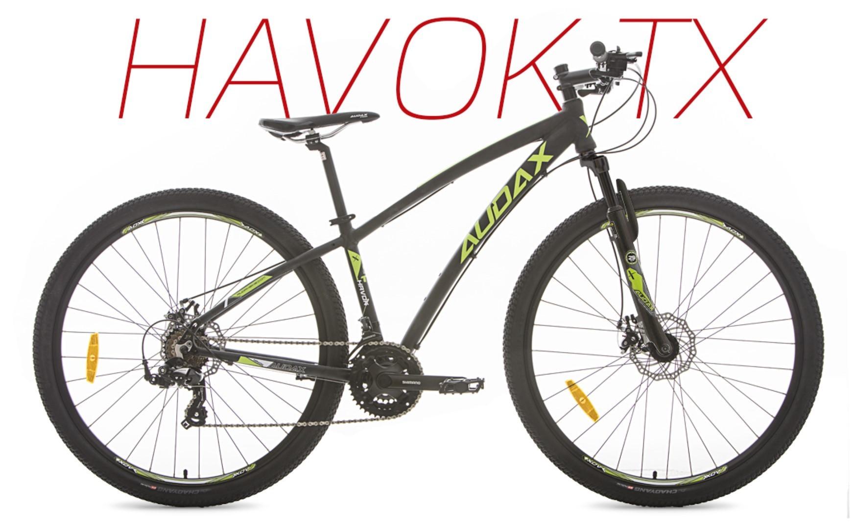 BICICLETA AUDAX HAVOK TX ARO 29 21V FREIO A DISCO MECANICO PRETA E VERDE