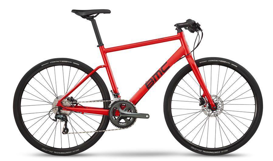 BICICLETA BMC ALPENCHALLENGE 02 TWO URBANA TIAGRA 20V FREIO A DISCO HIDRAULICO VERMELHA E PRETA 2019