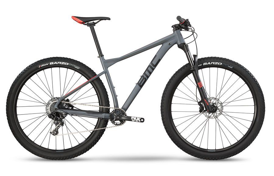 BICICLETA BMC TEAMELITE 03 TWO ARO 29 SRAM NX 11V CINZA PRETA E VERMELHA 2019