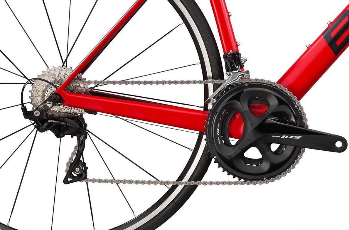 BICICLETA BMC TEAMMACHINE SLR02 TWO SPEED CARBONO 105 22V VERMELHA PRETA E CINZA 2019