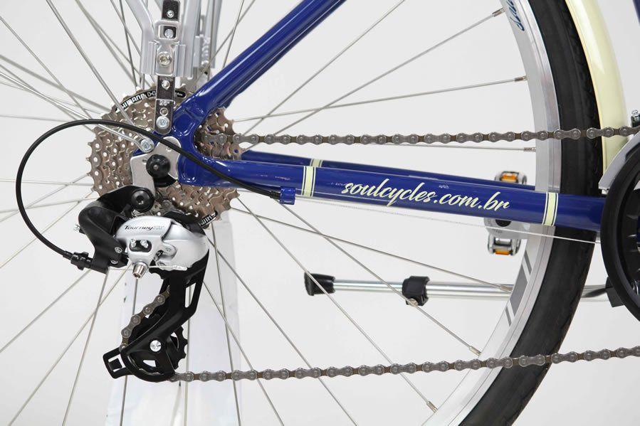 BICICLETA SOUL COPENHAGEN RETRO URBANA ARO 700 TOURNEY 24V AZUL E BEGE