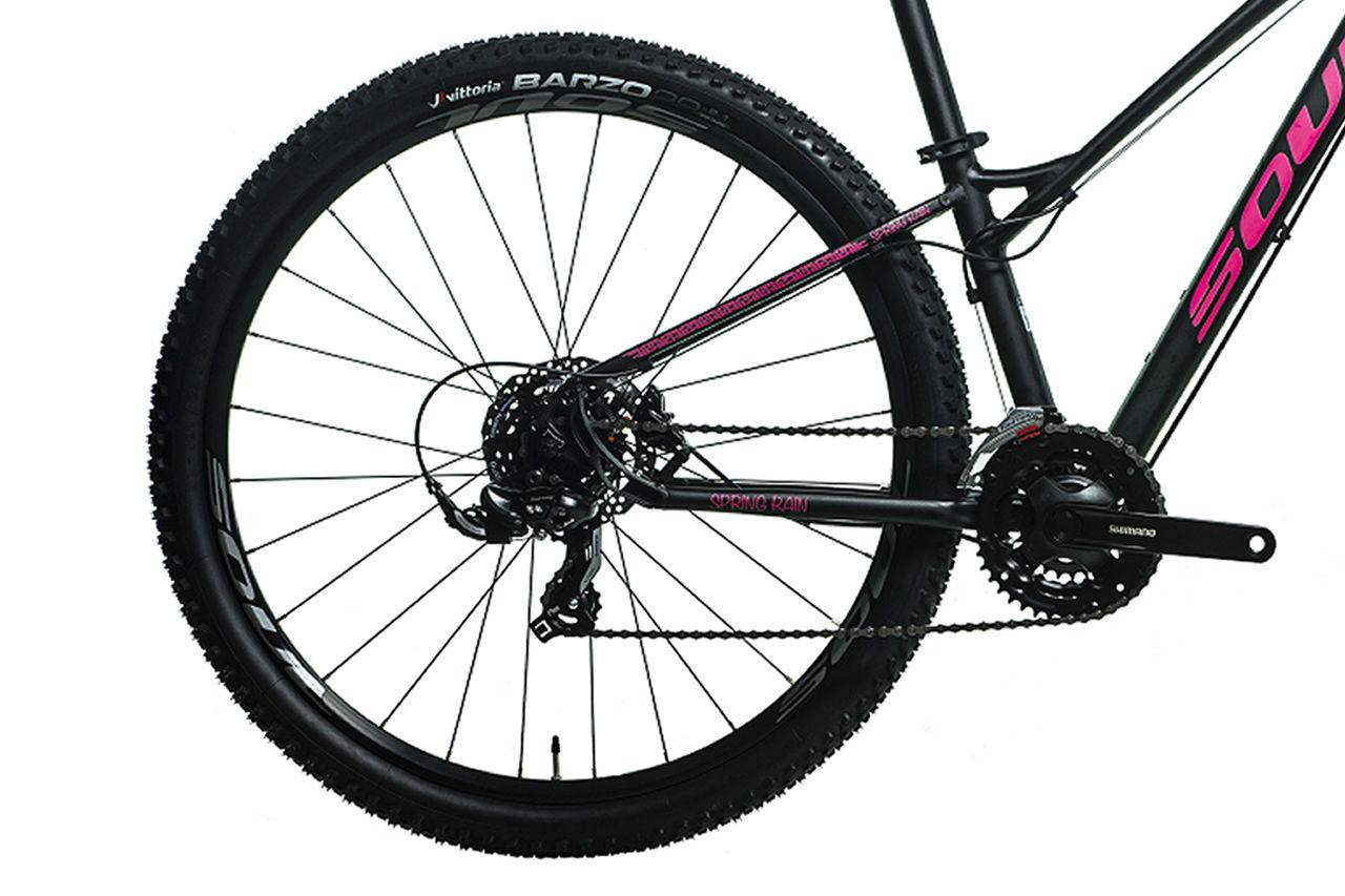 BICICLETA SOUL SPRING RAIN ARO 29 TOURNEY 21V FREIO A DISCO HIDRAULICO PRETA E ROSA