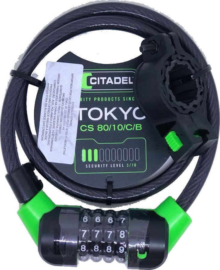 CADEADO ESPIRAL CITADEL COM SEGREDO TOKYO CS 80/10/C/B 10MMx80CM