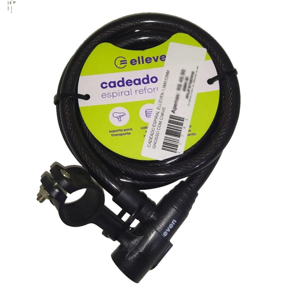 CADEADO ESPIRAL ELLEVEN 1.5MX12MM GROSSO COM CHAVE